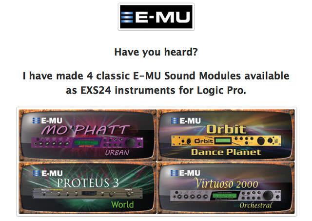 E-mu Sound Modules Library for Logic Pro's EXS24